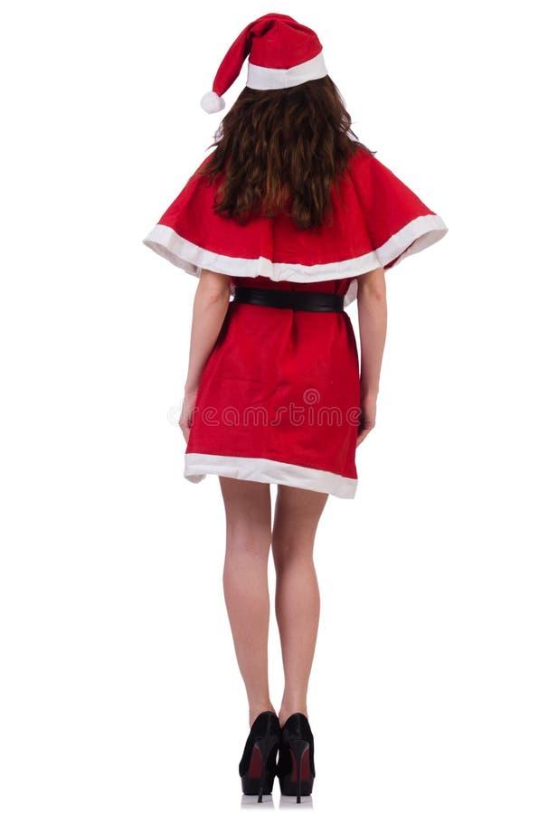 Muchacha santa de la nieve en concepto de la Navidad foto de archivo libre de regalías