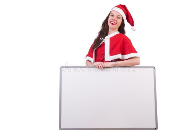 Muchacha santa de la nieve en concepto de la Navidad imagen de archivo libre de regalías