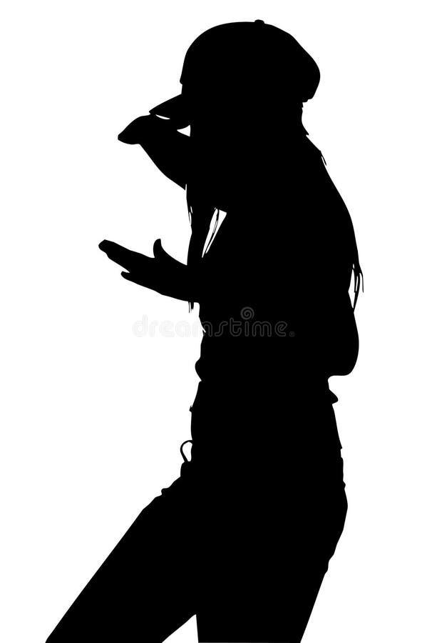 Muchacha Silhoette del karate stock de ilustración