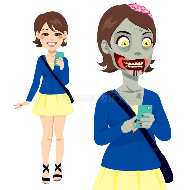 Muchacha Smartphone del zombi ilustración del vector