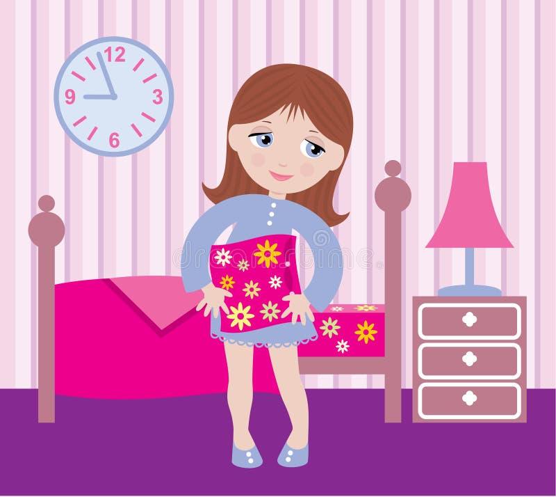Muchacha soñolienta a irse a la cama ilustración del vector