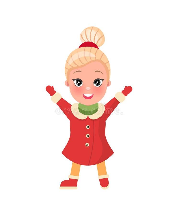 Muchacha sonriente de las compras de la Navidad en vector de la ropa stock de ilustración