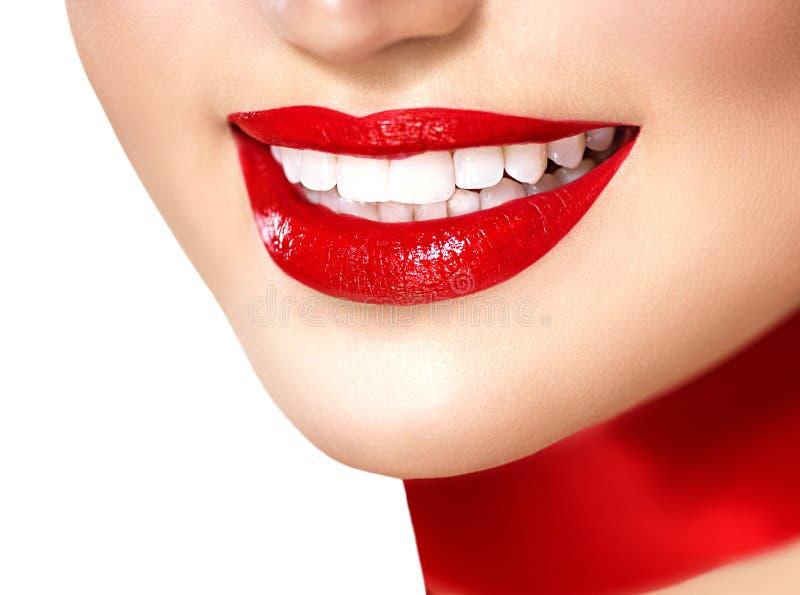 Muchacha sonriente hermosa con la bufanda de seda roja imagenes de archivo