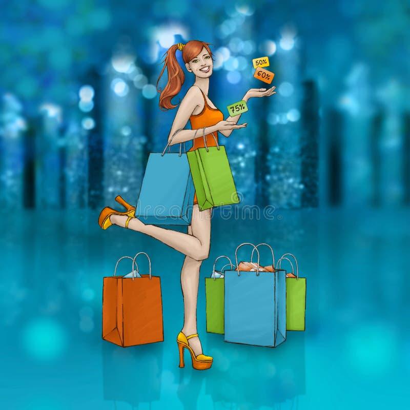 Muchacha sonriente hermosa con los panieres y los cartes cadeaux Noche de las ventas en la ciudad que brilla imagen de archivo