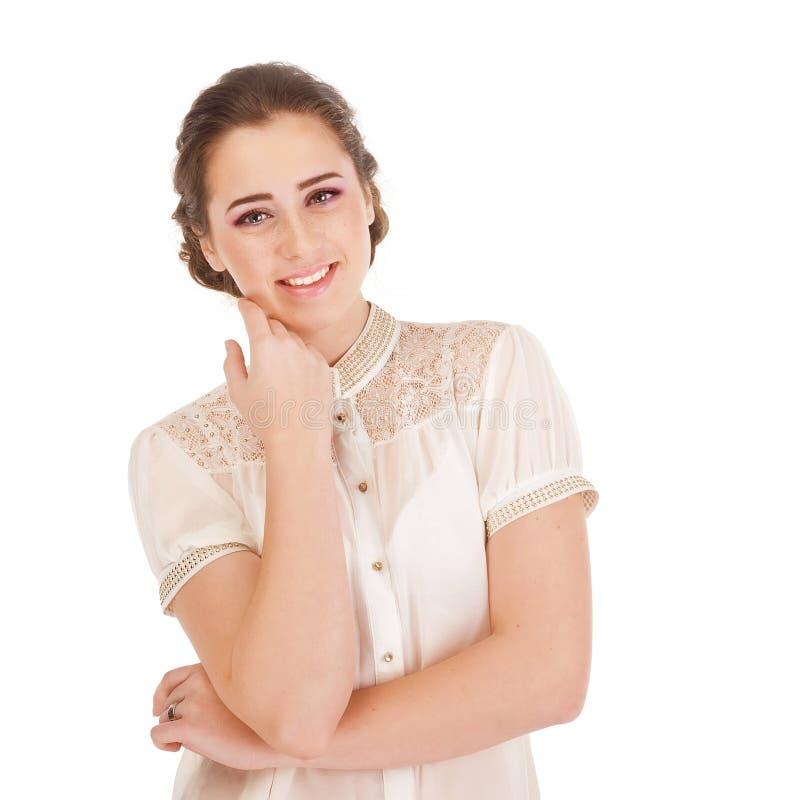Muchacha sonriente linda joven imagenes de archivo