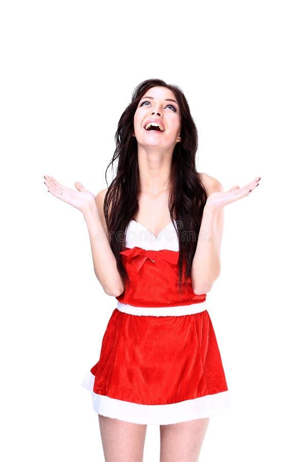 Muchacha sorprendida de la Navidad fotos de archivo