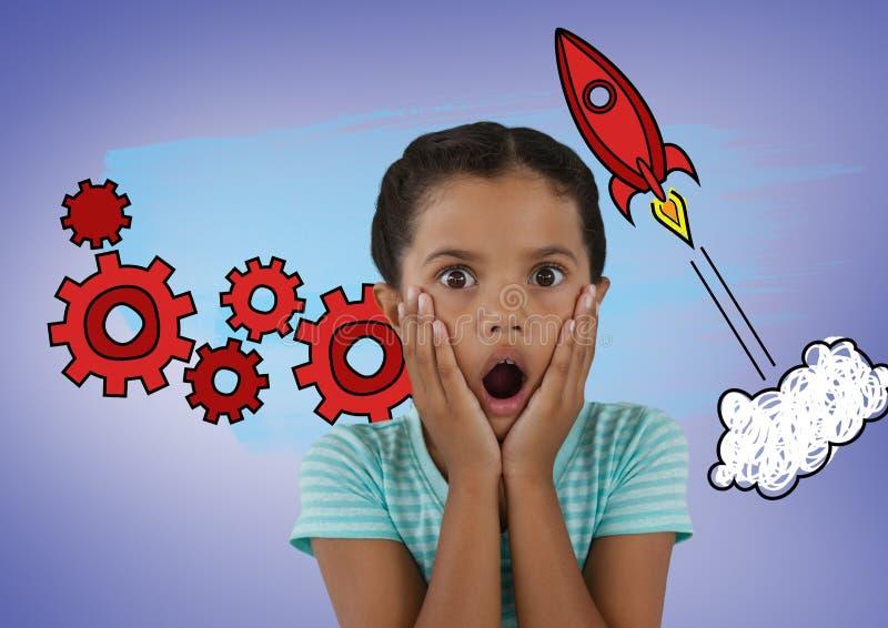 Muchacha sorprendida delante de gráficos del cohete y del diente fotografía de archivo