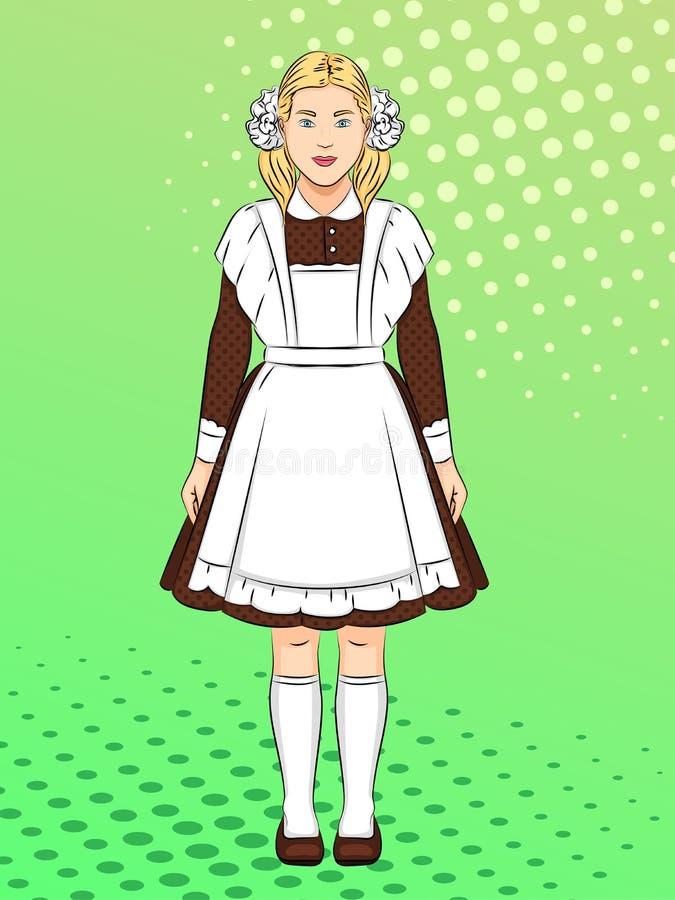 Muchacha sovi?tica, colegiala en el uniforme escolar, ropa Fondo del arte pop Imitaci?n del estilo de los tebeos trama stock de ilustración