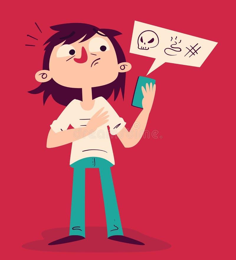 Muchacha tensa que discute en el teléfono libre illustration