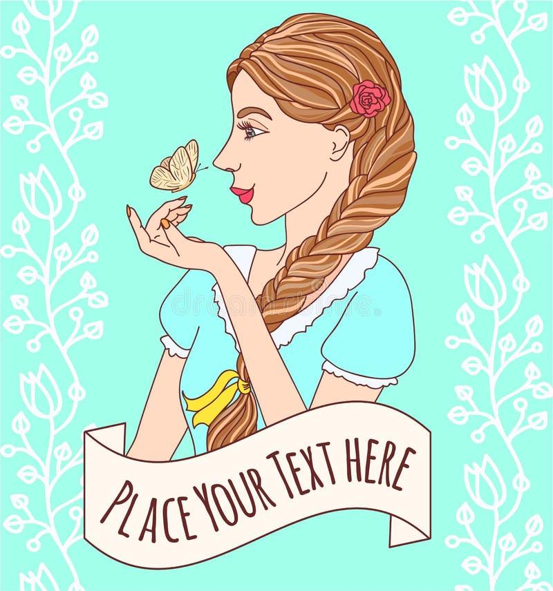 Download Muchacha Trenzada Sonriente Atractiva Con Una Mariposa Ilustración del Vector - Ilustración de haircut, atractivo: 44855751