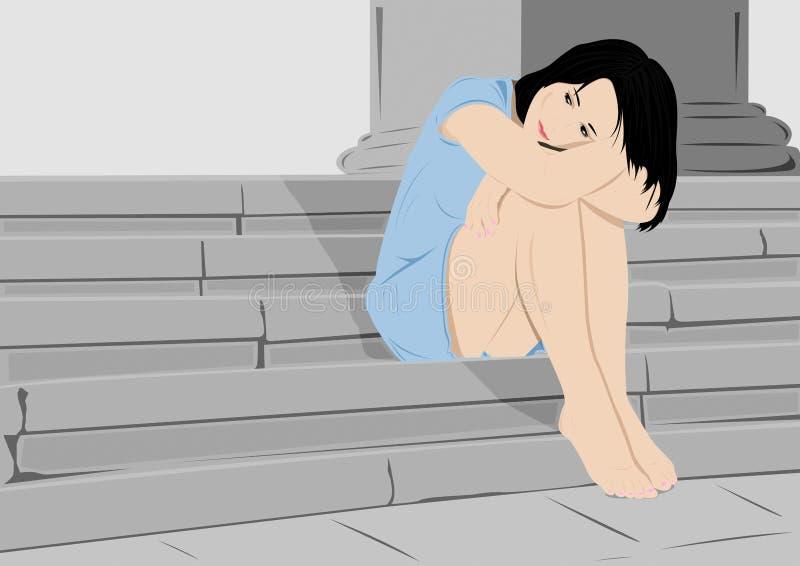 Muchacha triste stock de ilustración