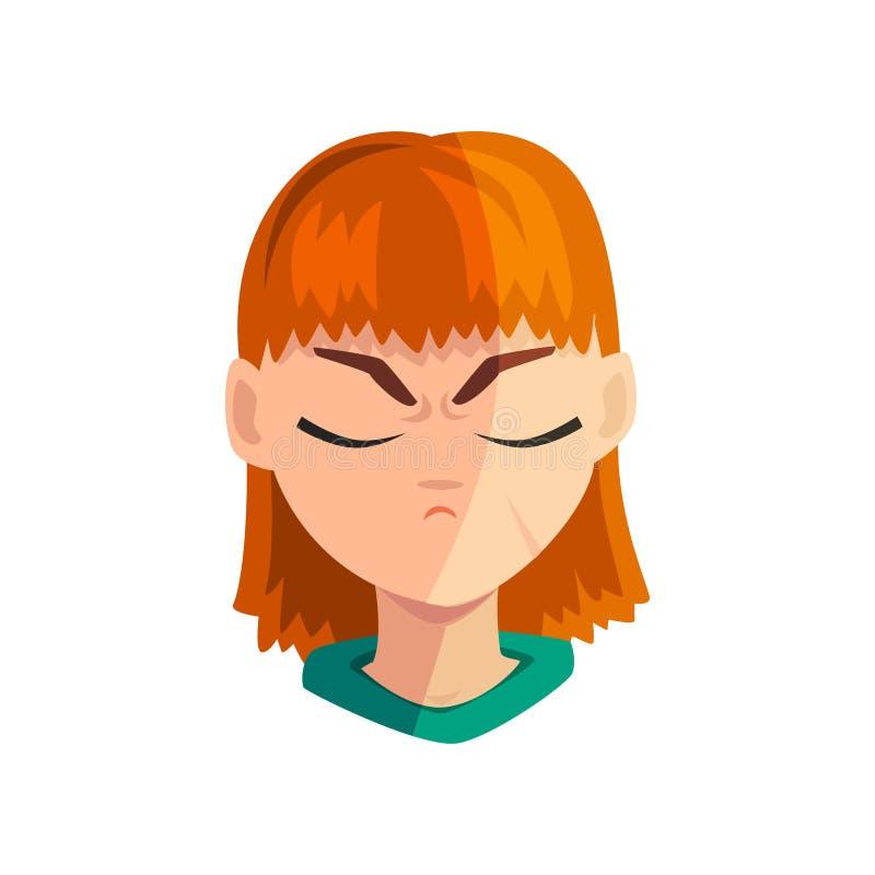 Muchacha triste con los ojos cerrados, cara emocional femenina, avatar del pelirrojo con el ejemplo del vector de la expresión fa stock de ilustración
