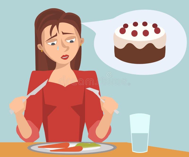 Muchacha triste que come la comida de la dieta que sueña con la torta stock de ilustración