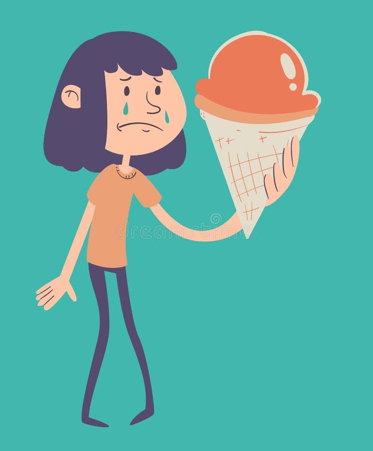 Muchacha triste que sostiene el helado stock de ilustración