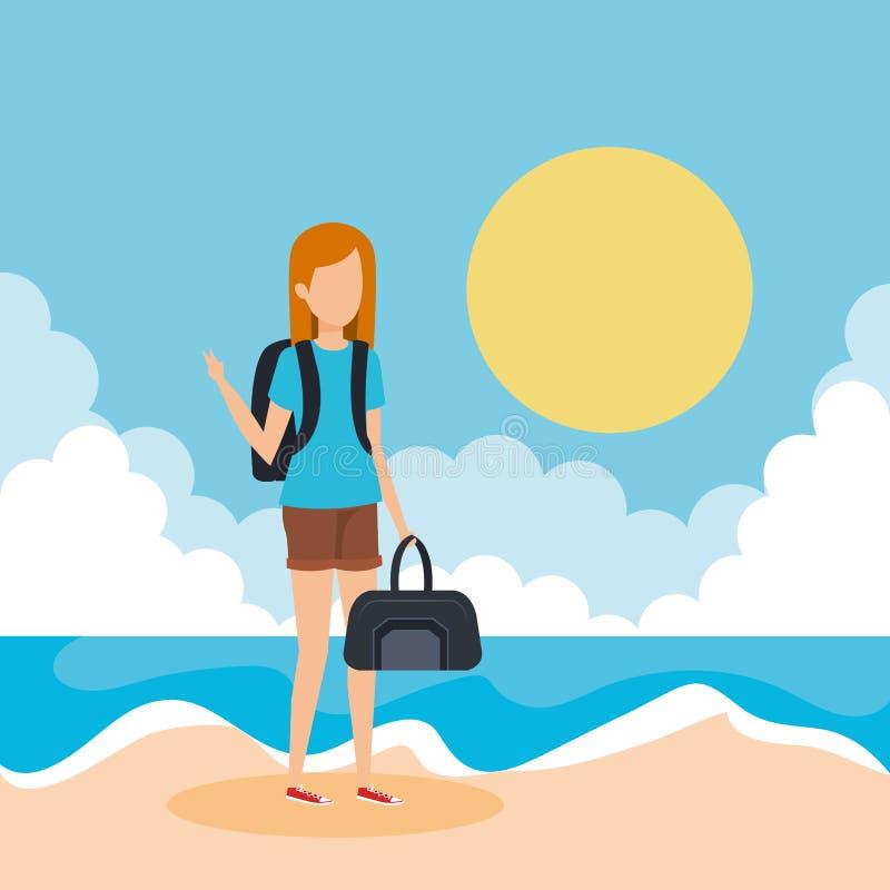 Muchacha turística con el bolso en la playa libre illustration