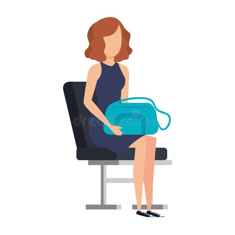 Muchacha turística con el bolso en silla del aeropuerto libre illustration