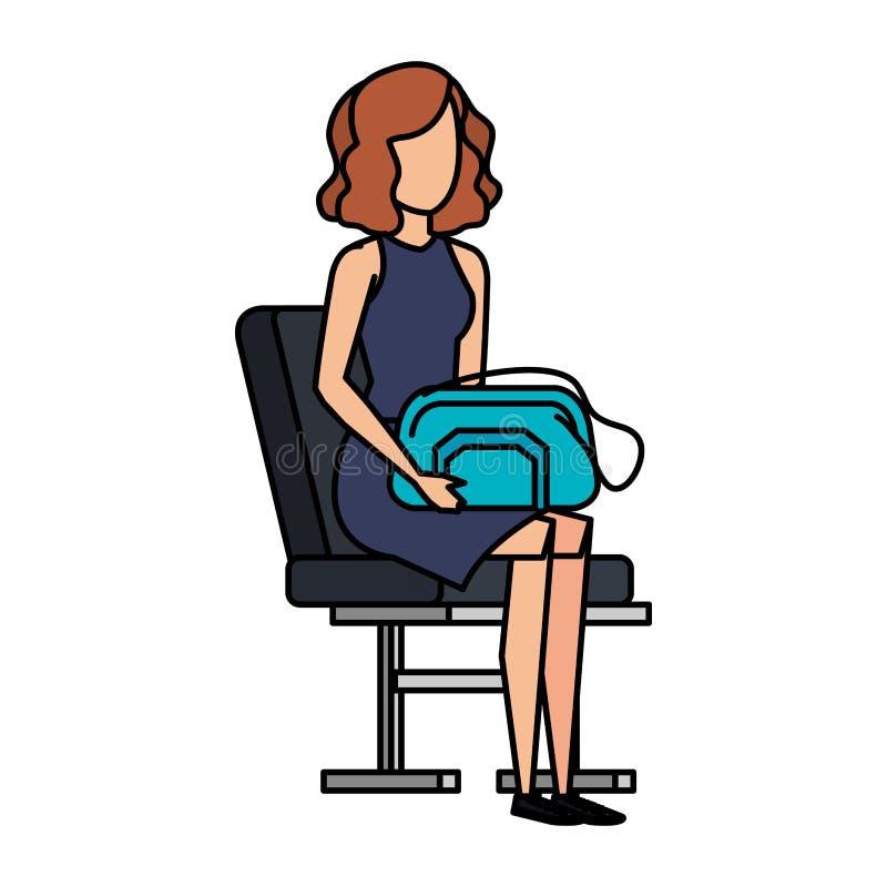 Muchacha turística con el bolso en silla del aeropuerto ilustración del vector