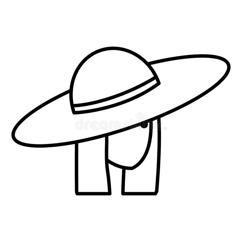 Muchacha turística con el carácter principal del sombrero del verano stock de ilustración