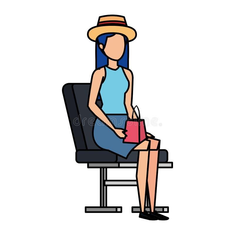 Muchacha turística con el sombrero del verano en silla del aeropuerto stock de ilustración