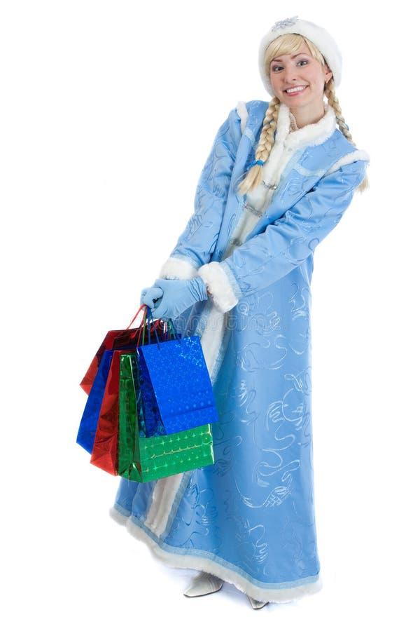 Muchacha vestida en el traje ruso de la Navidad fotografía de archivo libre de regalías