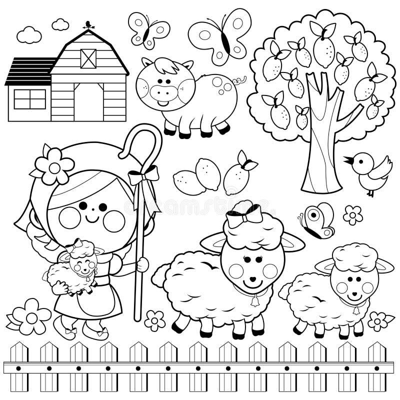 Muchacha y animales de la pastora en la granja Página blanco y negro del libro de colorear stock de ilustración