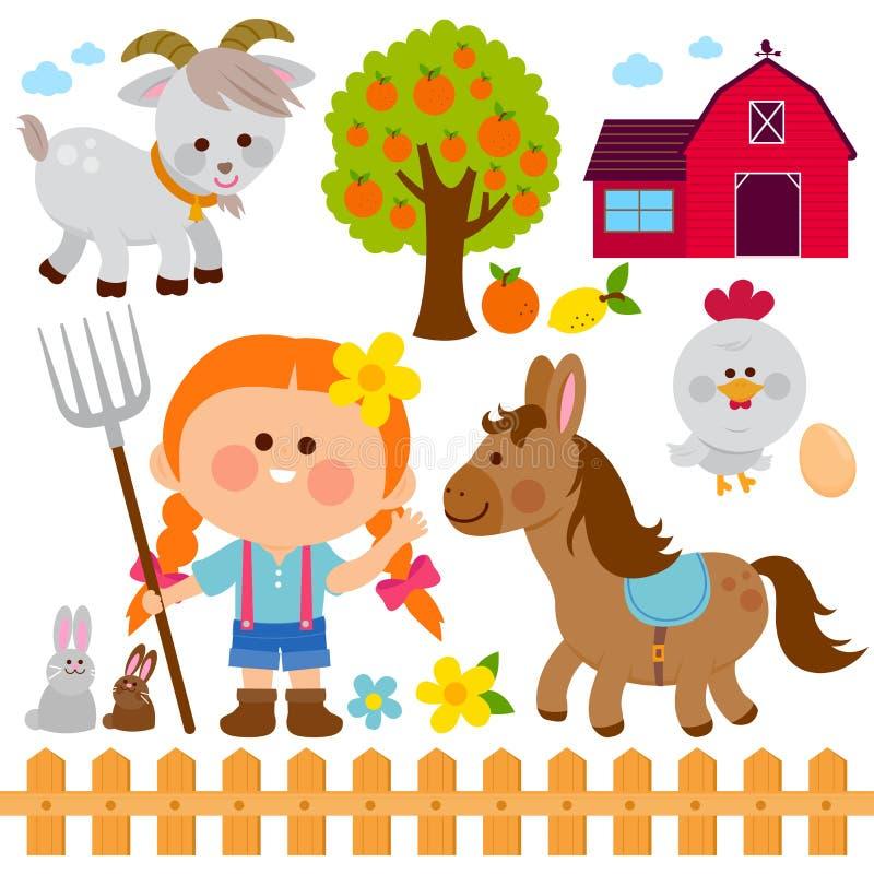 Muchacha y animales del granjero Colección del ejemplo del vector libre illustration