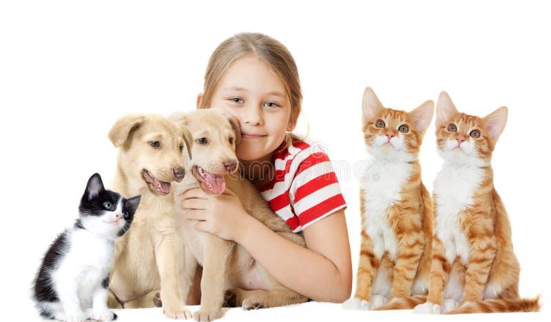 Muchacha y animales domésticos foto de archivo libre de regalías
