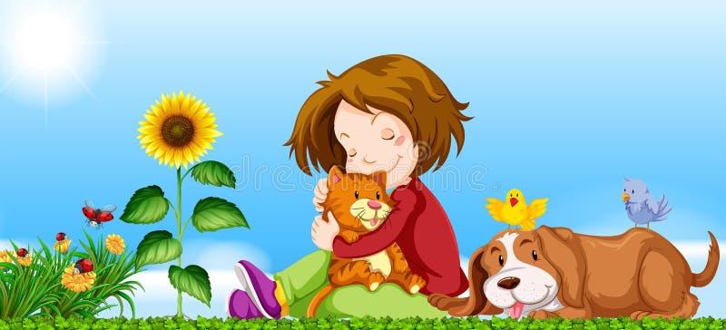 Muchacha y animales domésticos en el jardín libre illustration