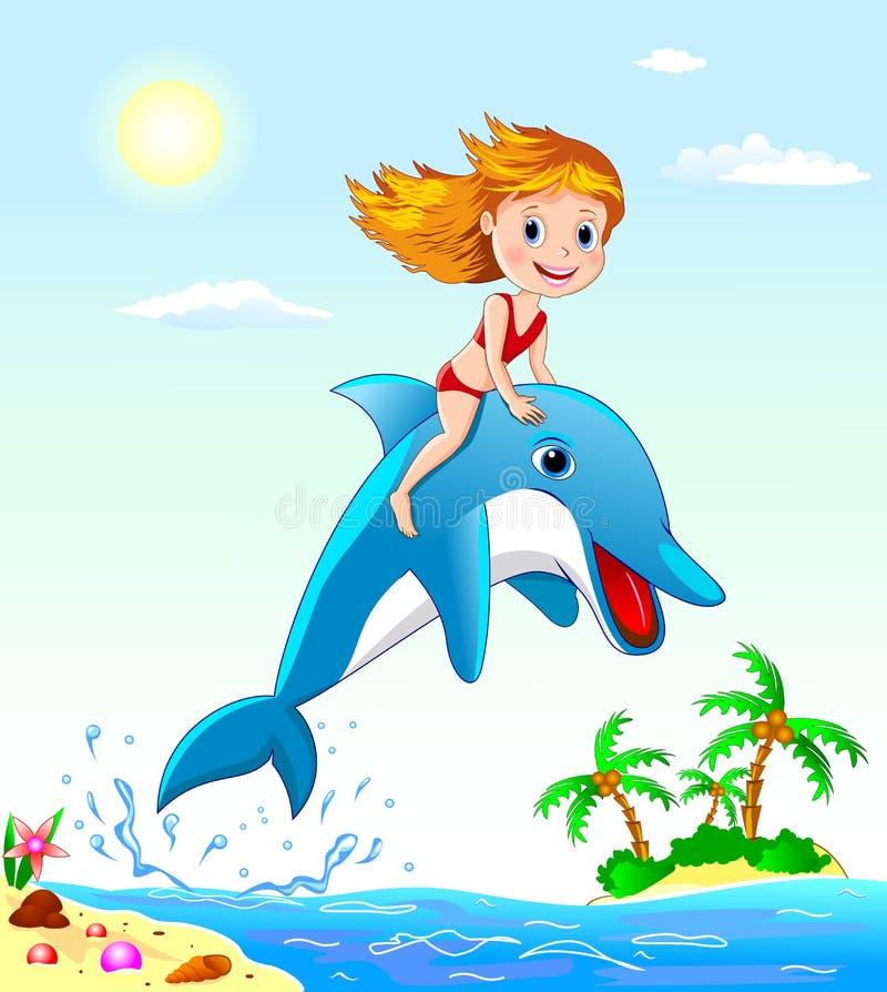 Muchacha y delfín stock de ilustración