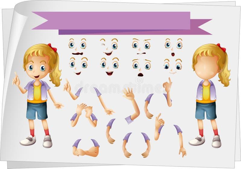 Muchacha y diverso sistema de caras stock de ilustración