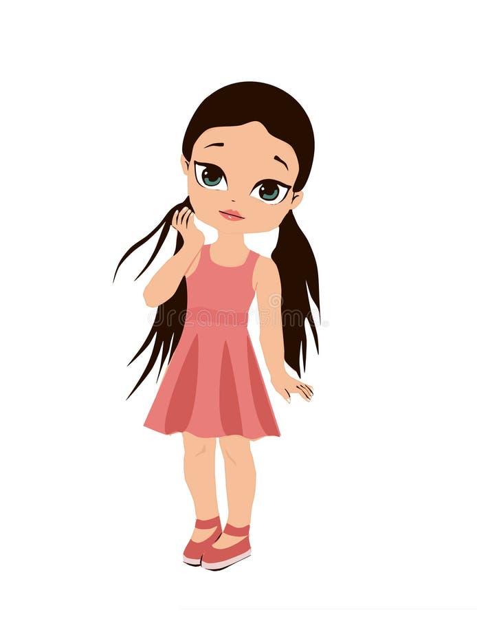 Muchacha y ella lindas ropa Juego del dressup de la muchacha de papel el libro de colorear de los ni?os, ni?os lindos de la mucha stock de ilustración