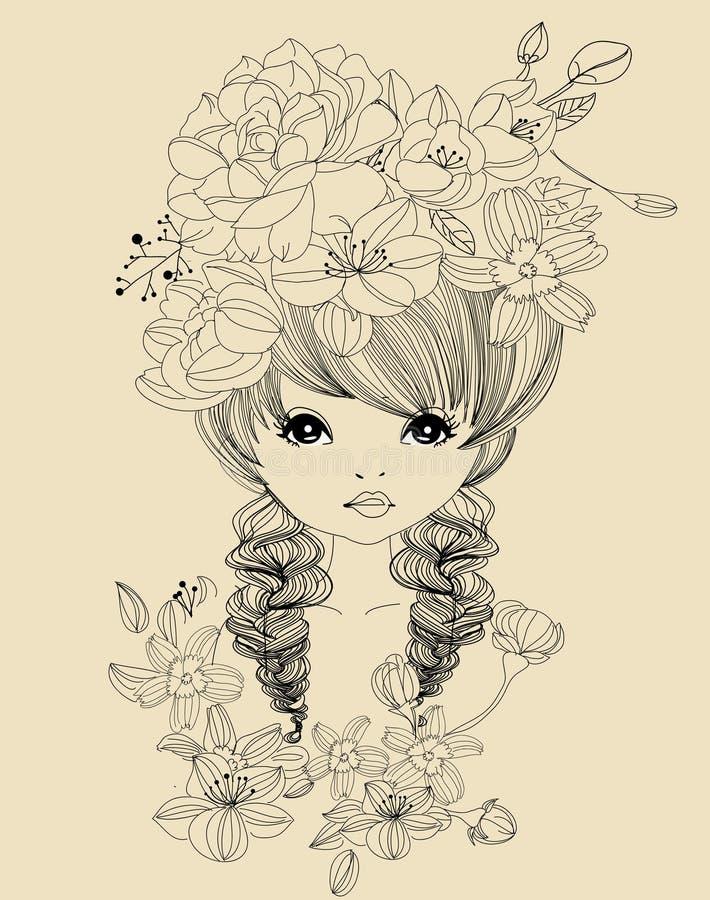 Muchacha y flor bonitas libre illustration