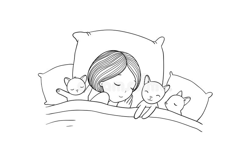 Muchacha y gato durmientes en cama Buenas noches stock de ilustración