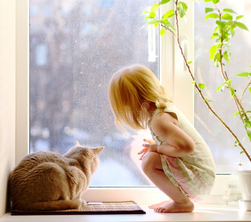 Muchacha y gato que miran fuera de la ventana