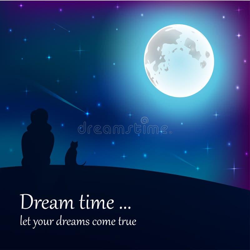 Muchacha y gato que se sientan en la tierra, mirando la luna debajo de las estrellas en cielo nocturno con el lugar del texto ilustración del vector