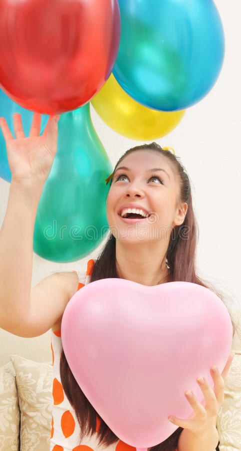 Muchacha y globos fotografía de archivo libre de regalías