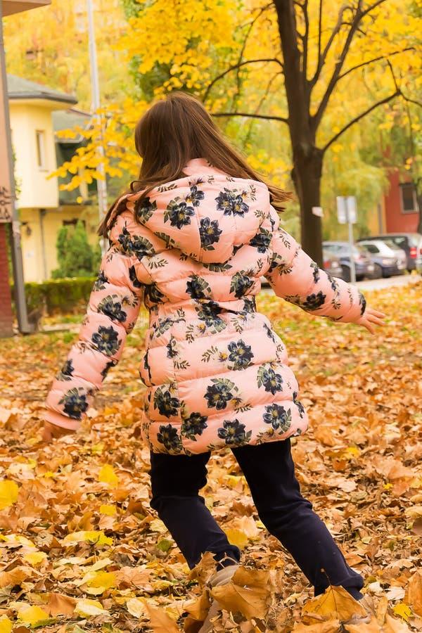 Muchacha y hojas de otoño imagenes de archivo