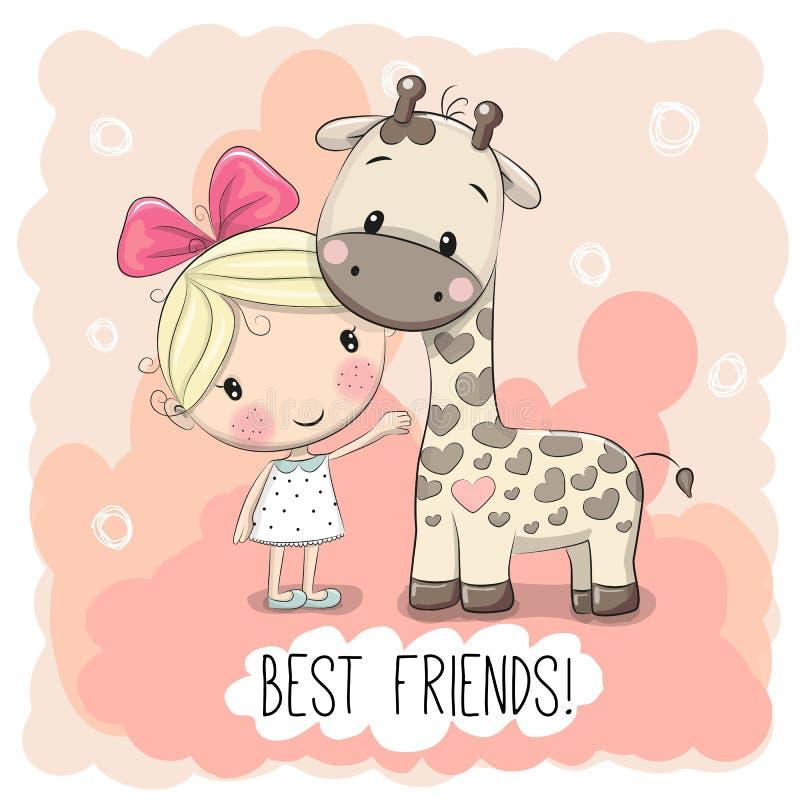 Muchacha y jirafa lindas libre illustration