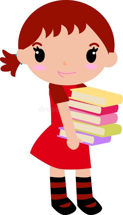 Muchacha y libro lindos stock de ilustración