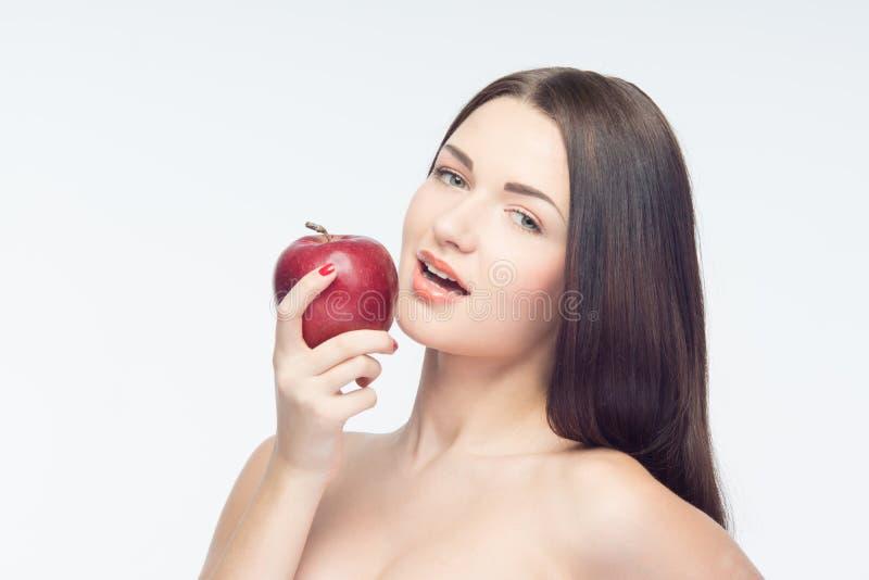 Muchacha y manzanas imagen de archivo libre de regalías