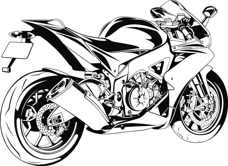 Muchacha y moto agradables ilustración del vector