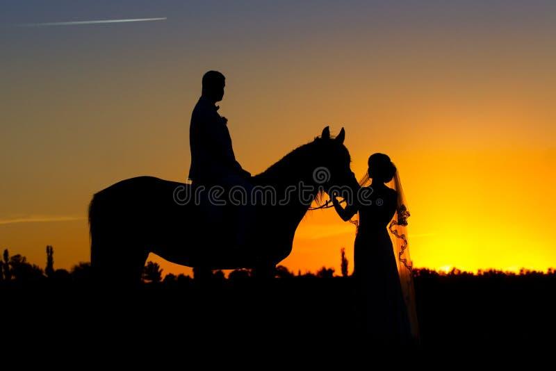 Muchacha y muchacho con el caballo en la puesta del sol fotos de archivo libres de regalías