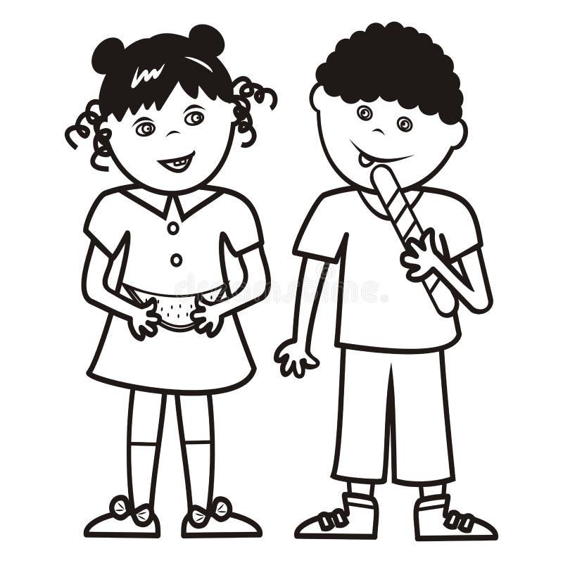 Muchacha y muchacho con el melón y la piruleta, libro de colorear, ejemplo del vector ilustración del vector
