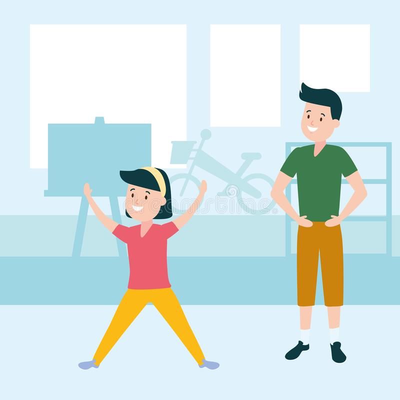 Muchacha y muchacho felices libre illustration