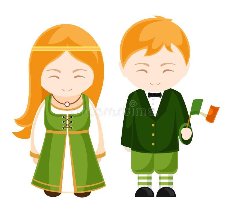 Muchacha y muchacho irlandeses en traje nacional Gente irlandesa ilustración del vector