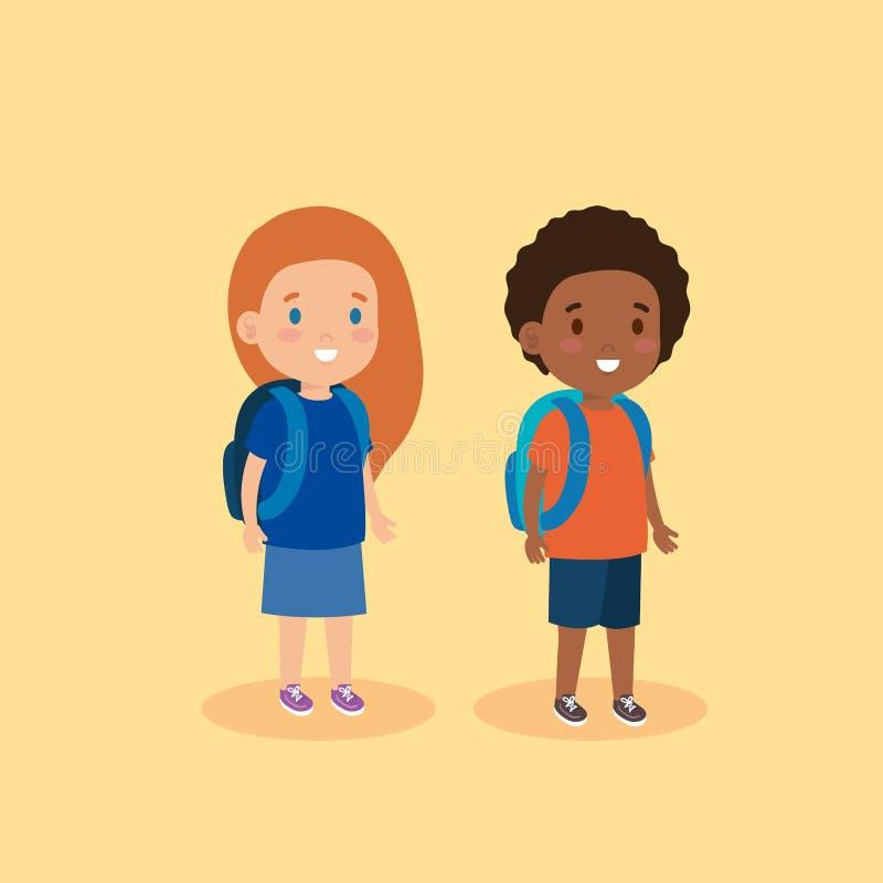 Muchacha y muchacho lindos con el peinado y la mochila libre illustration