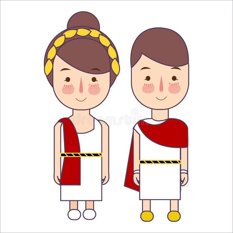 Muchacha y muchacho que llevan el traje griego antiguo de Roma para la historia de la escuela Ilustración del vector libre illustration