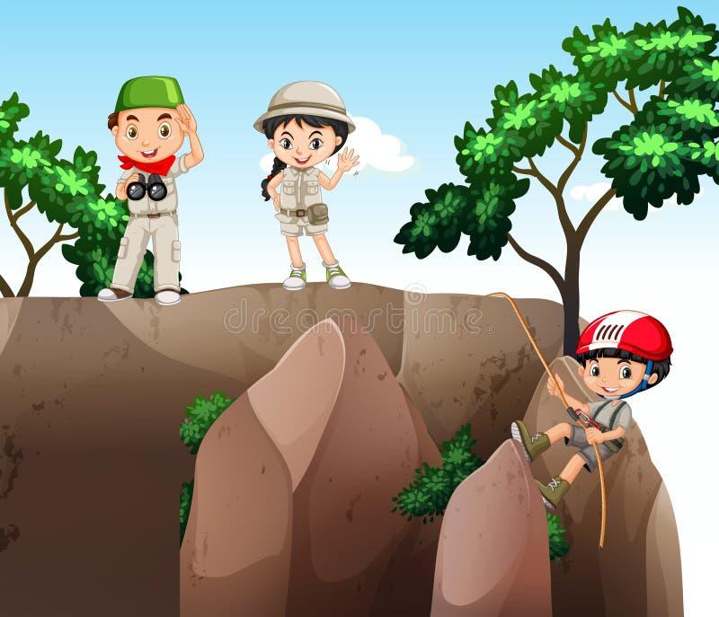 Muchacha y muchachos que suben para arriba la montaña ilustración del vector