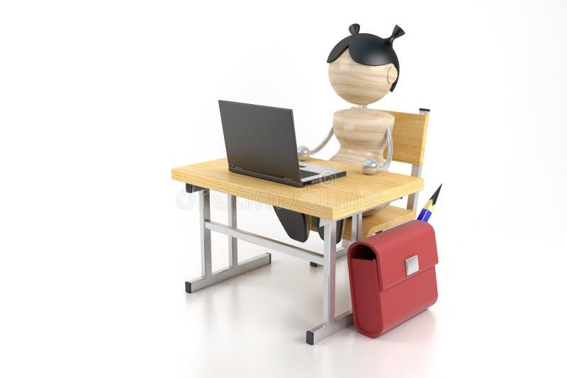 Muchacha y ordenador libre illustration