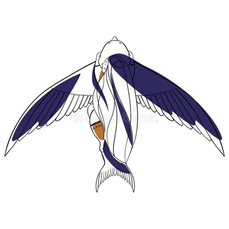 Muchacha y pájaro imagenes de archivo